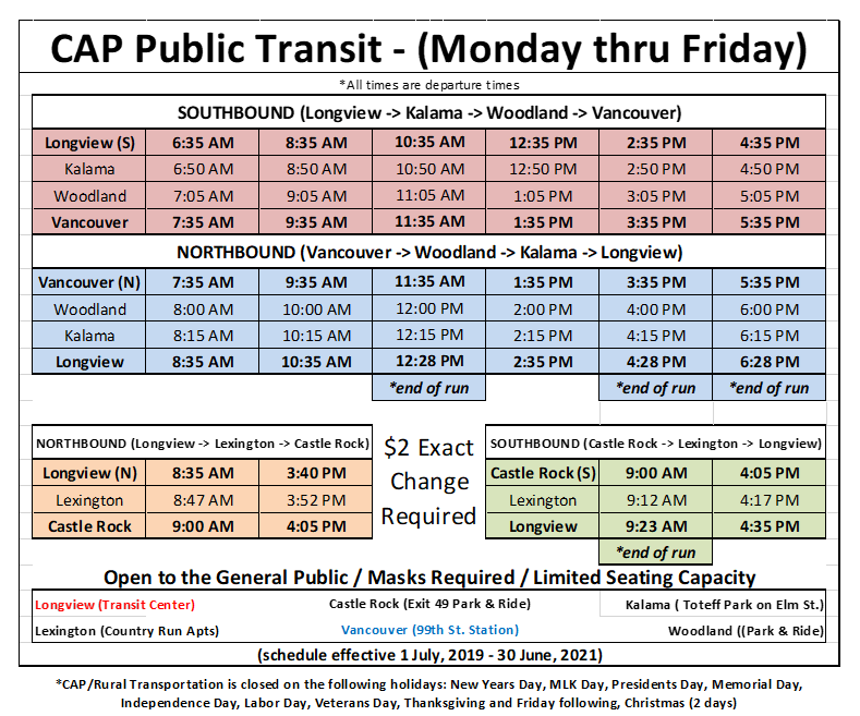 Bus Schedule 09.23.2020
